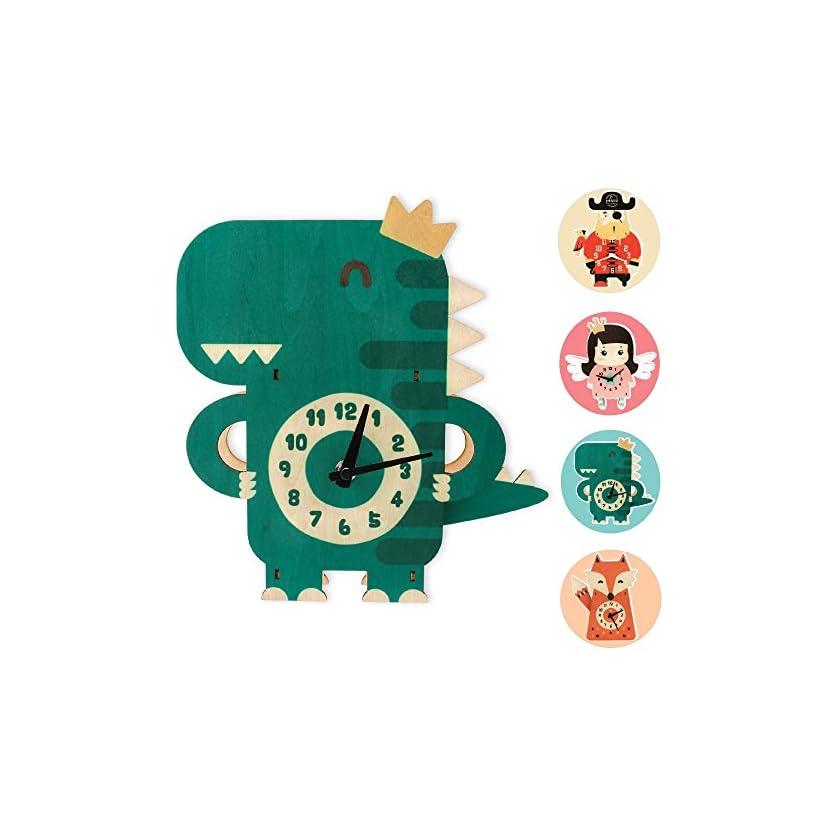 GLÜCKSWOLKE Kinderwanduhr aus Holz I Uhrzeit Lernen Kinder I Wanduhr Ohne Ticken I Uhr für Kinderzimmer Junge Mädchen I Wand-Deko I 3D Kinderuhr 1