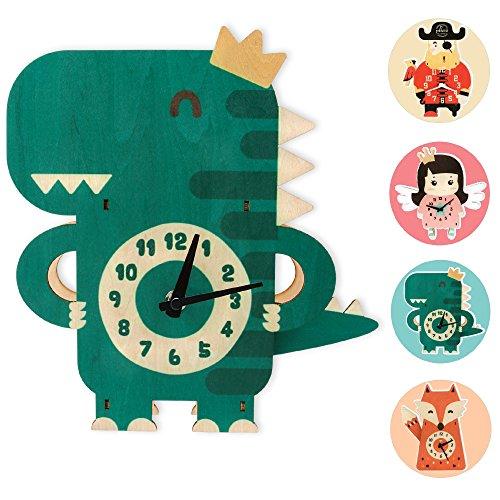 GLÜCKSWOLKE Kinderwanduhr Holz I Uhrzeit Lernen Kinder I Wanduhr Ohne Ticken I Uhr für Kinderzimmer Junge I Dinosaurier Kinderuhr 3D Motiv I Wand-Deko (Dino Donnerprinz)