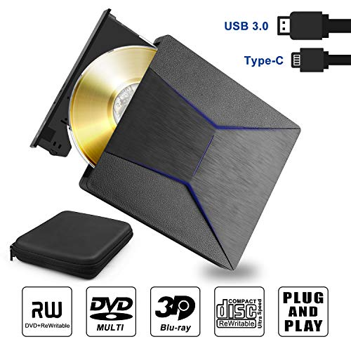 Externe Blu Ray DVD Laufwerk 3D, Bluray Player USB 3.0 und Type-C CD DVD Brenner Recorder RW ROM Externe bluray laufwerk Slim tragbar für Windows 7 8 10, Vista, MacOS, iMac, Laptop, Desktop mit Tasche
