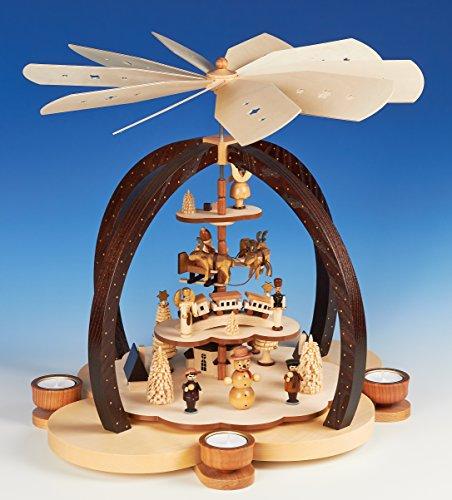 Teelicht Groß-Pyramide 40cm Erzgebirgsmotiv Wolkenzauber natur - Handarbeit aus dem Erzgebirge !