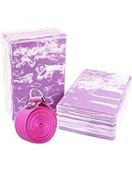 Yoga Block und Yoga Gurt Yogagurt mit Metall D-Ring Yoga Brick Kork Yoga Block 2Stück pro Set-hochdichtem EVA-Schaum Yoga Block zu unterstützen und Vertiefen Posen, leicht, geruchsabweisender und Feuchtraum