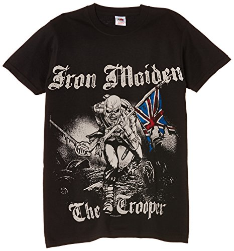 Image of Rock Off Men's Iron Maiden Sketched Trooper Regular Fit Round Collar Short Sleeve T-Shirt, Black, Large
