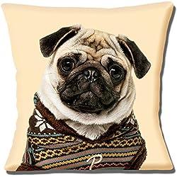 Cojín Impresión de fotos de perro carlino de punto jersey