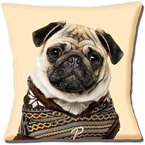 Cute Fawn Impresión de fotos de perro carlino de punto jersey–16