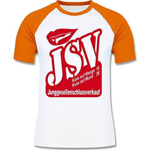 JGA Junggesellenabschied - JSV - Junggesellenschlussverkauf - zweifarbiges Baseballshirt für Männer Weiß/Orange
