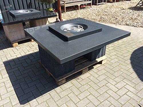 Granit Feuertisch 140x140 cm Gasgrill Einbaugrill, Absolute black schwarz