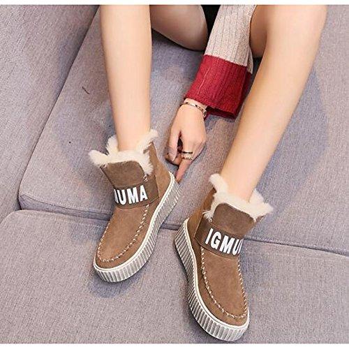 Hsxz Femmes Nubuck Cuir Chaussures En Caoutchouc Hiver Bottes De Neige Bottes De Mode Bottes Plates En Cuir / Noir Café Occasionnels Beaners / Bottillons
