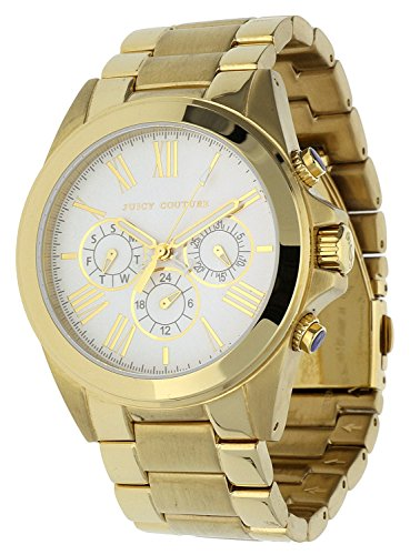 JUICY COUTURE 1900901 - Reloj analógico de cuarzo para mujer con correa de acero inoxidable, color dorado