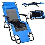 Qulista Relaxliege Liegestuhl klappbar 164cm | Gästebett Verstellbar mit Kopfkissen | Armlehne | Luftiges Oxford | Sonnenliege Balkonliege Terrassenliege (Blau)