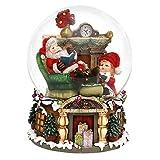 SIGRO Gold Polyresin Schneekugel Santa XXL mit Spieluhr 16 x 16 x 20 cm Ø 15 cm Spielwerk We Wish You Merry Christmas XXL