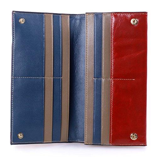Yvonnelee Delle donne del cuoio genuino portafogli borsa esclusiva Long Bifold cassa Rosso