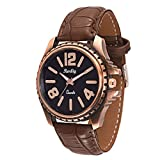 Trendy Antique Brown Leather Belt Watch, Round Copper and Black Dial Analog Watch For Men