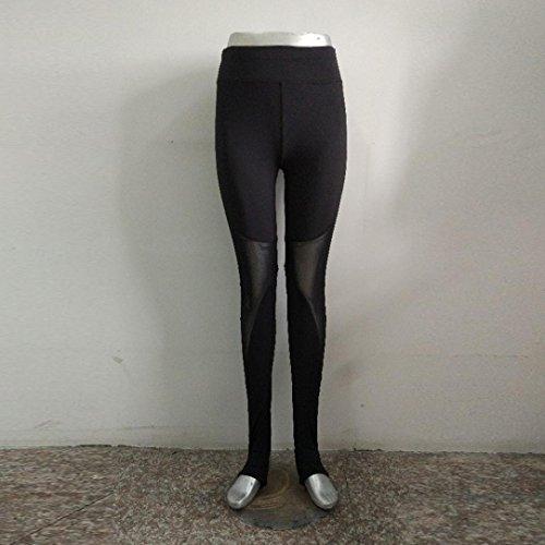 Vovotrade® Leggings Skinny Sexy en Taille Haute et Féminine de Pantalons de Yoga Push-up Patchwork Mesh Jogging Vêtements Noir
