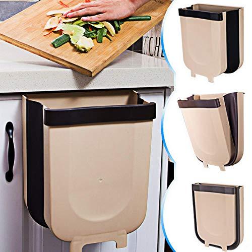 TTMOW Cubos de Basura Plegable Colgando para la Cocina, Coche 9L Marrón