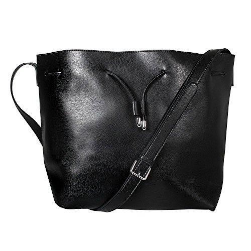 Tom & Eva Damen Umhängetasche Bucket Bag inkl. Kosmetiktasche in vielen Farben Schwarz