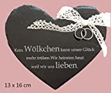 Dr.weiz Ringkissen Schieferherz mit Gravur Traukissen Eheringe Kissen Hochzeit