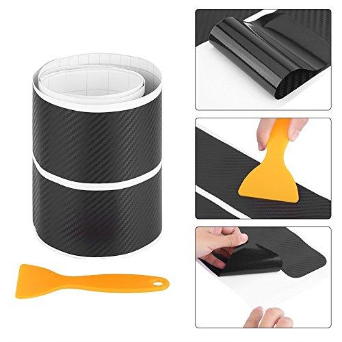 4pcs Carbon Fiber Door Sill Sticker Scuff Plate Cover Black Anti Scratch Car Door Sill Cover Scuff Plate Sticker Panel Step Protector