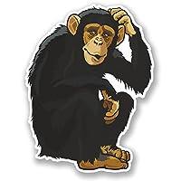 2 x Monkey Chimp Vinyl Sticker iPad Laptop Helmet Skate Board Kids Funny #4361
