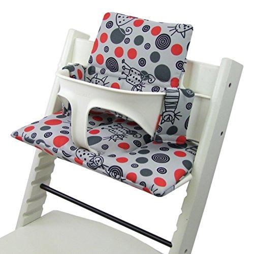 Imagen para BambiniWelt - Cojín de asiento para trona Stokke Tripp Trapp, en 20colores, asiento de 2piezas, funda de repuesto Hellgrau Katze Rote Punkte