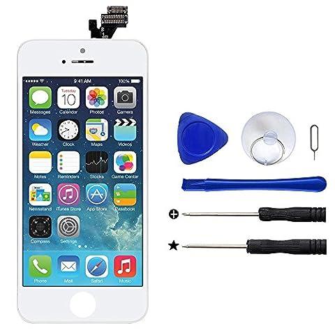 Novonest Blanc Complet LCD Vitre Touch ECRAN pour iPhone 5 Bloc Assemble Neuf,Vitre Tactile + Ecran LCD Retina SUR CHASSIS + Outils