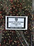 Mixed Peppercorns - Five Pepper Mix Whole Peppercorns Containing Black White Green Red Peppercorns and Allspice 250g