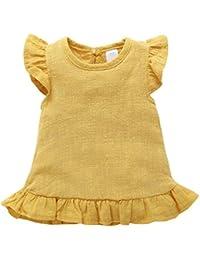 2b9628f20e Minuya Kleinkind Baby Mädchen Baumwolle Leinen Einfarbig Runde Kragen…