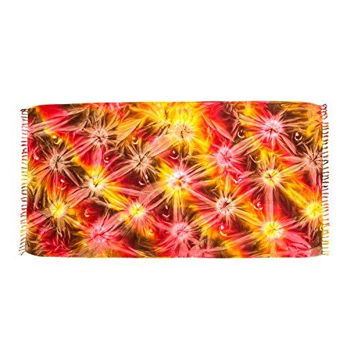 ManuMar Damen Sarong | Pareo Strandtuch | Leichtes Wickeltuch | Batik Design (L: 115 x 225 cm, Rot Gelb Braun)