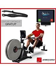 Sportstech RSX600 machine à ramer professionnel-air magnétique drive, 12 programmes d'aviron + 4 d'impulsion, 16 niveaux résistance, ceinture d'impulsion de valeur de 39,90 € inclue, mode concurrence