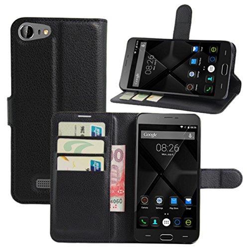 HualuBro Doogee Y200 Hülle, Premium PU Leder Wallet Flip Handy Schutzhülle Tasche Case Cover mit Karten Slot für Doogee Y200 Smartphone (Schwarz)
