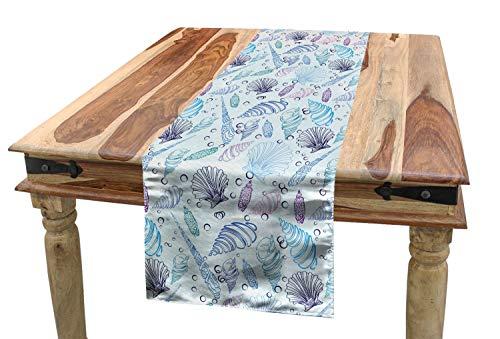 ABAKUHAUS Nautisch Tischläufer, Muscheln Blase Ozean, Esszimmer Küche Rechteckiger Dekorativer Tischläufer, 40 x 300 cm, Hellblau Lila Indigo