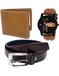 XPRA Analog Watch, Brown PU Leather Belt & Brown Leather Wallet For Men/Boys Combo (Pack Of 3) - (WL-3CMB-15)