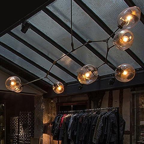 Fx@ Tienda de Vintage Lámparas colgantes para salón comedor moderna lámpara E27 negro oro cristal suspensión luminaria lámparas , 6 head