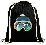 Shirt Happenz Snowboarden Premium Turnbeutel | Ski | Skibrille | Aprés Ski | Unisex | Gymbag, Farbe:Schwarz (Gymbeutel);Größe:37cm x 46 cm