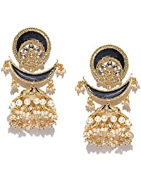PANASH Gold-plated And Black Crescent-Shaped Party Wear Handpainted Wedding Jhumkas/Earrings For Girls & Women