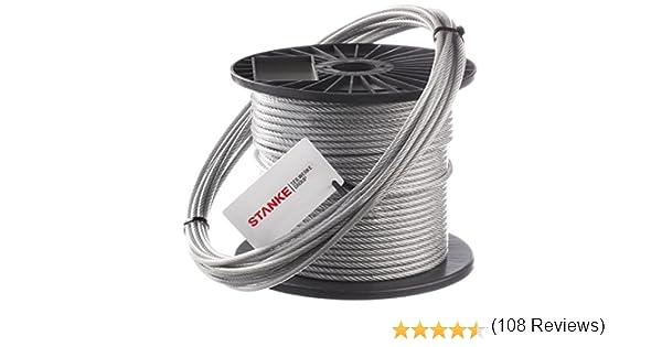 Seilwerk STANKE C/âble dAcier Galvanis/é DIN Corde Foresti/ère Corde de Levage C/âble de Treuil 6x7+FC 5 mm 25 m