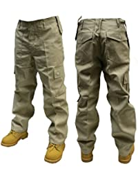 Adultes Uni Pantalon Combat couleur - Beige,taille -W32/L32