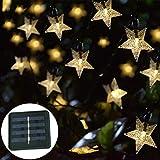 Catene Luminose Stella Solare Luci,KINGCOO Impermeabile 23FT 50LED Solare Fata Stella Scintillio Luci a Corda per Natale Festa Casa All'aperto Nozze Giardino Decorazione (Bianco caldo)