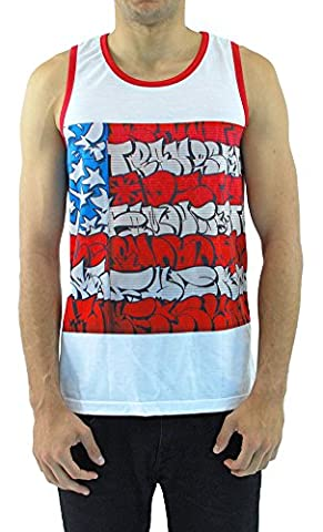 Famous Stars and Straps - Herren-Slick Flag Sublimation Tank Top, X-Large, White/Red
