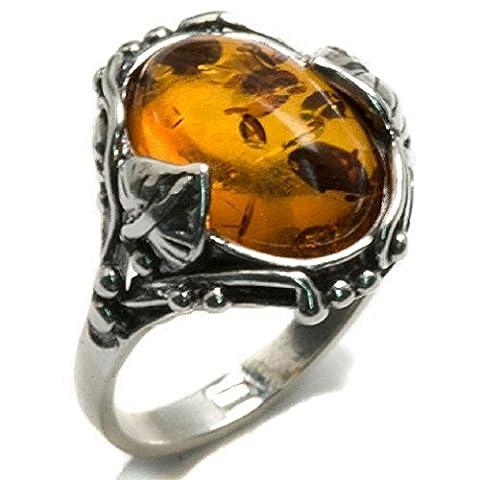 Noda bague en ambre et argent filigrane ovale taille
