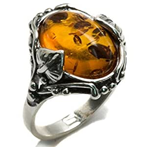 Noda Baltic Honey Amber and Sterling Silver Filigree Oval Ring Size J 1/2