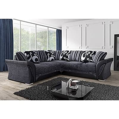 New Farrow Chenille Fabric Corner Sofa, 2+3 Seater, Swivel Chair In Black & Grey from Abakus Direct