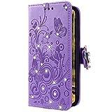 Uposao Kompatibel mit Huawei P30 Handyhülle Schmetterling Blumen Muster Luxus Bling Glitzer Leder Wallet Schutzhülle Brieftasche Leder Hülle Klapphülle Brieftasche Tasche,Lila