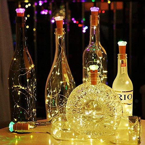 AUSHEN Warmweiß Kupferdraht korken licht mit RGB LED Stimmungslichter, wasserdicht weinflaschen licht für Flasche DIY, Party, romantisch Deko, Weihnachten[Inklusive Batterie] ()