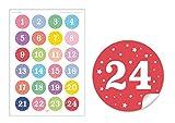 24 Adventskalenderzahlen mit bunten Farben für Kinder (A4 Bogen) • selbstglebende Papieraufkleber / Sticker / Aufkleber / Etiketten (Format 4 cm, rund, matt )