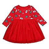 POLP Niño Regalo Navidad Bebe Pijama Rojo Navidad Bebe Disfraz Árbol de Navidad de Dibujos Animados de Navidad Muñeco de Nieve Copo de Nieve Vestido de Falda abullonada Tutu 1pc