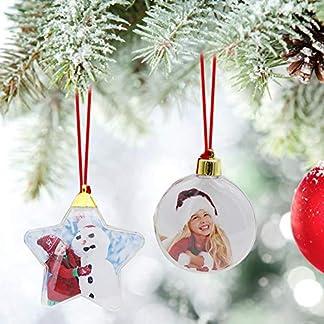Bola de Navidad Decoración Bola de Fotos 5 Estrellas Ronda Día de San Valentín Fiesta de Navidad Artículo de Fiesta de Bricolaje Personalizado Árbol de Navidad Vestido para Navida