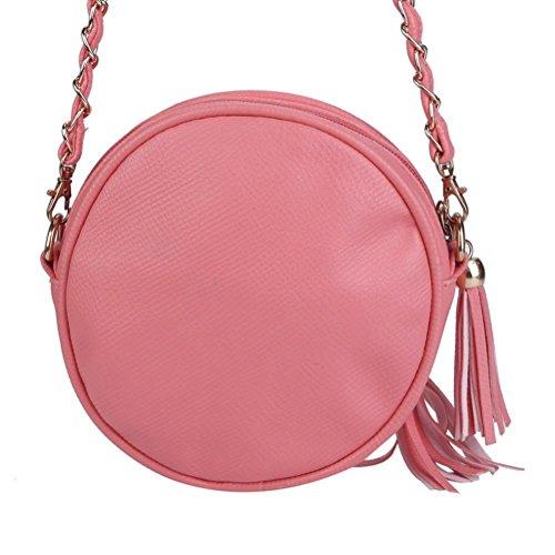 Honeymall piccoli rotondi pacchetto/ mobile tondo pacchetto/Mini tracolla borsa a tracolla piccola spalla Borsa nappa Rosso Rosa