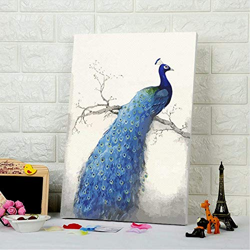 e Durch Zahlen Pfau Digitale Farbe Durch Zahlen Wohnkultur Für Schlafzimmer Wohnzimmer DIY Digitale Malerei-Without Framed ()