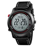 LBJ Herren Digitale Armbanduhren Kompass Höhenmesser Barometer Lederband Fashion Outdoor Sport Uhren