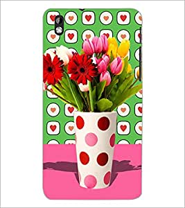 PrintDhaba Flower Vass D-2795 Back Case Cover for HTC DESIRE 816 (Multi-Coloured)